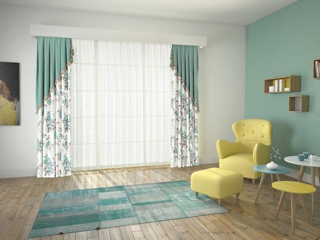 Vorhangfenster mit dekorativen