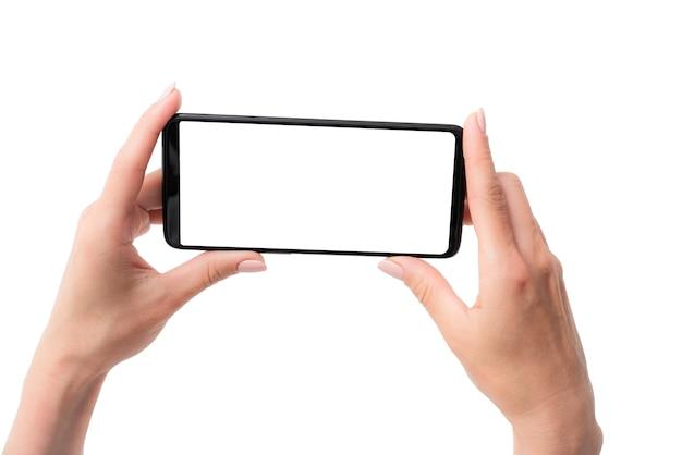 Vorlage des modernen smartphones in den händen für ihr design