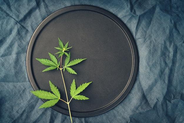 Vorlage mit einem busch von marihuana auf einem dunklen hintergrund für das platzieren von medizinischen cannabisprodukten mit cbd-öl