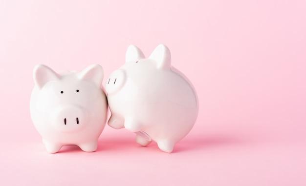 Vorne zwei kleine weiße fette sparschwein auf rosa