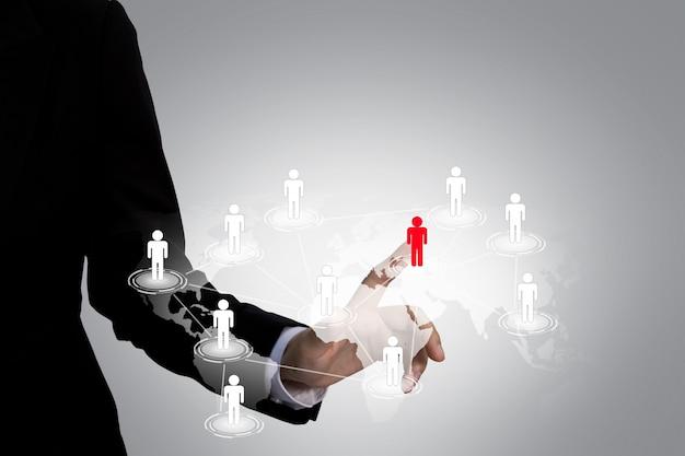 Vorstand berühren ein symbol im sozialen netzwerk