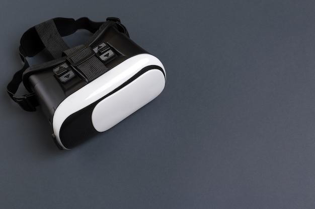 Vr-brille virtual-reality-headset-draufsicht isoliert auf grau
