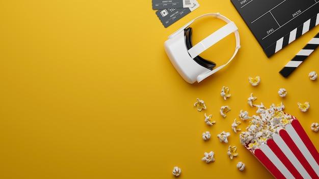 Vr-headset popcorn-kinokarte filmklappe kopieren platz für text auf gelbem hintergrund 3d-rendering