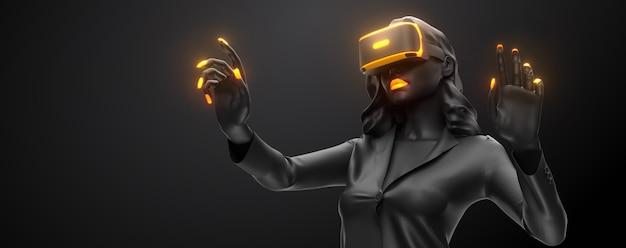 Vr-headset, technologie. 3d-darstellung der frau, die eine virtual-reality-brille auf schwarzem hintergrund trägt.