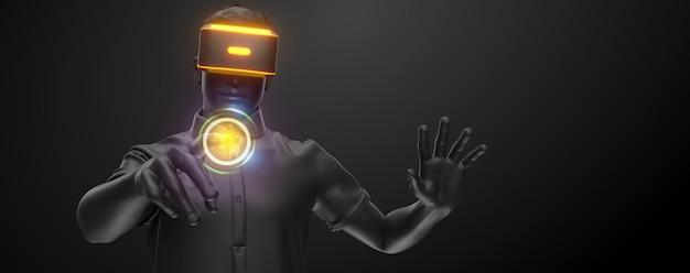 Vr-headset, technologie. 3d-darstellung des mannes, der eine virtual-reality-brille auf schwarzem hintergrund trägt.