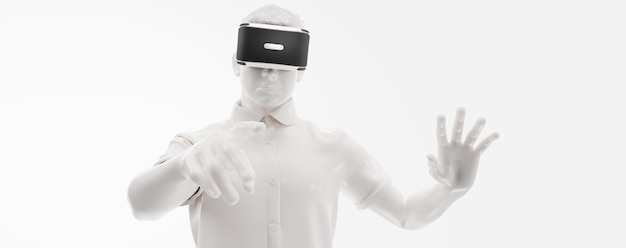 Vr-headset, technologie. 3d-darstellung des mannes, der eine virtual-reality-brille auf weißem hintergrund trägt