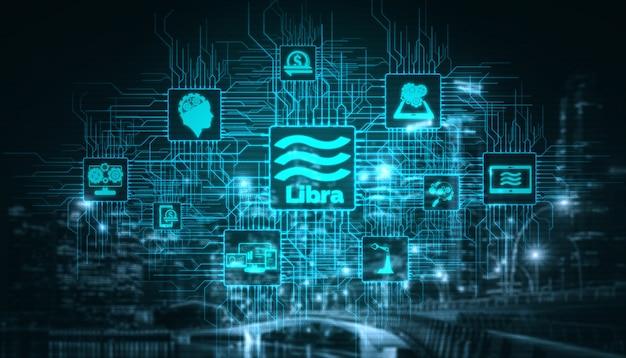 Waage kryptowährungsmünze in der digitalen geldwirtschaft