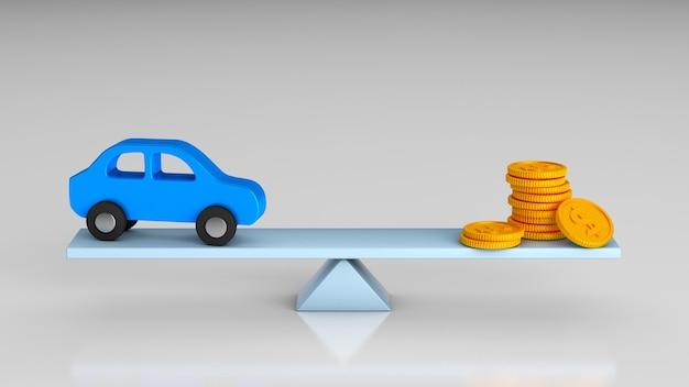 Waagen des gleichgewichts und der wahl des geldes oder des autos. 3d-rendering.