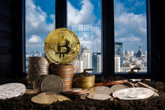 Wachsender schritt auf münzen. konzept finanzen und rechnungswesen. kryptowährung - litecoin, bitcoin, ethereum. stadthintergrund verwischen