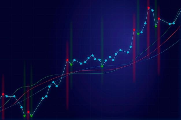 Wachsendes diagrammdiagramm auf blauem hintergrund mit signalen