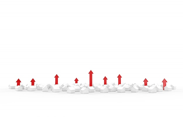 Wachstum des immobiliengeschäfts mit grünem pfeil. 3d-illustration.