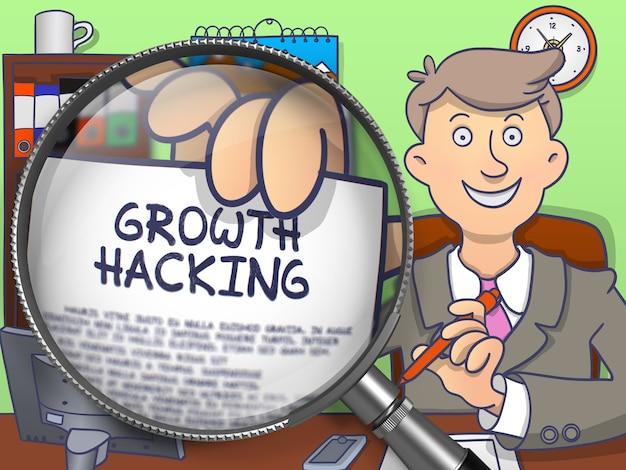 Wachstum hacken. text auf papier in der hand des geschäftsmannes durch lupe. farbige gekritzel-illustration.