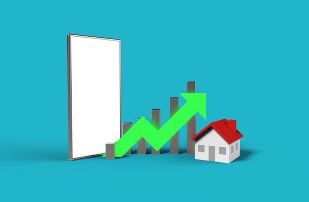 Wachstumsimmobilienkonzept. geschäftsgraph mit haus und leerem bildschirm handy. 3d-illustration.