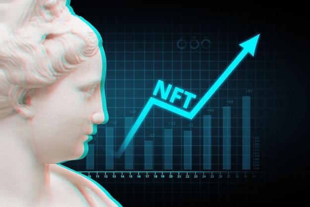 Wachstumskonzept mit nach oben gerichteter digitaler kunst nft, seinem nicht fungiblen token.