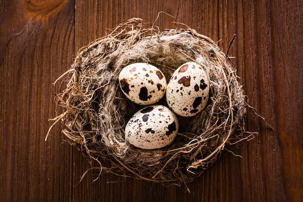 Wachteleier im nest auf einem holztisch. ansicht von oben