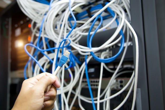 Wählen sie den rj45-kopf des utp-lan-kabels und viele netzwerkkabel.