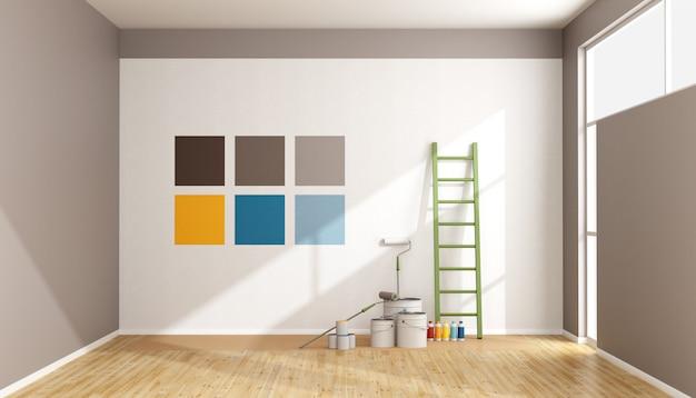 Wählen sie ein farbfeld aus, um die wand zu streichen