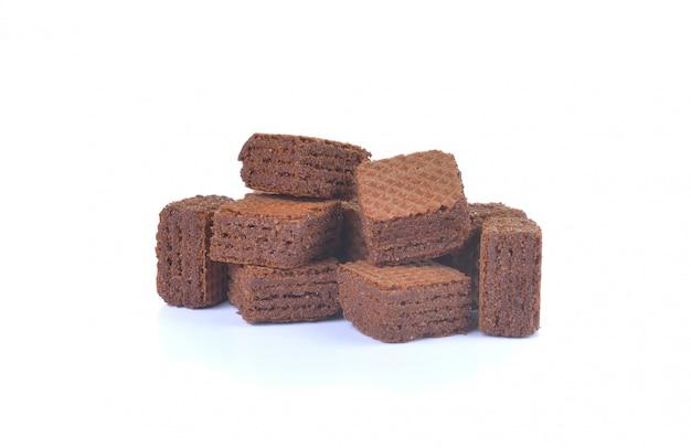 Waffeln mit schokolade isoliert.