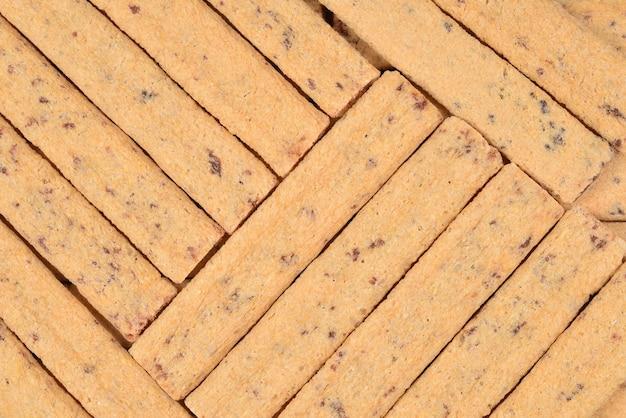 Waffelriegel mit marmeladenmuster. ansicht von oben