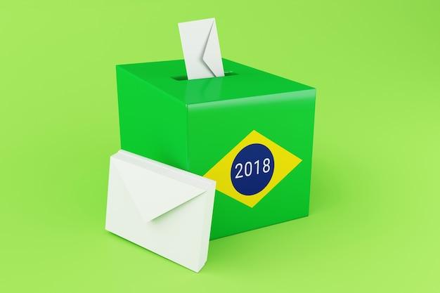 Wahlurne 3d mit flagge von brasilien. wahlen 2018.