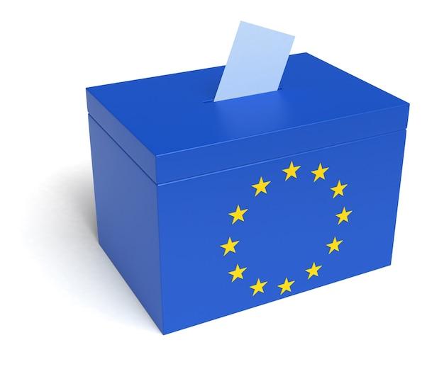 Wahlurne der europäischen union mit flagge der europäischen union. isoliert auf weißem hintergrund.