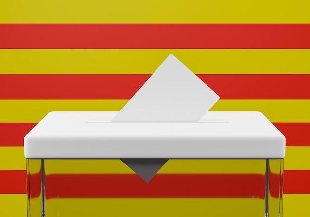 Wahlurne mit einem stimmumschlag im schlitz bereit zur abstimmung. flagge von katalonien