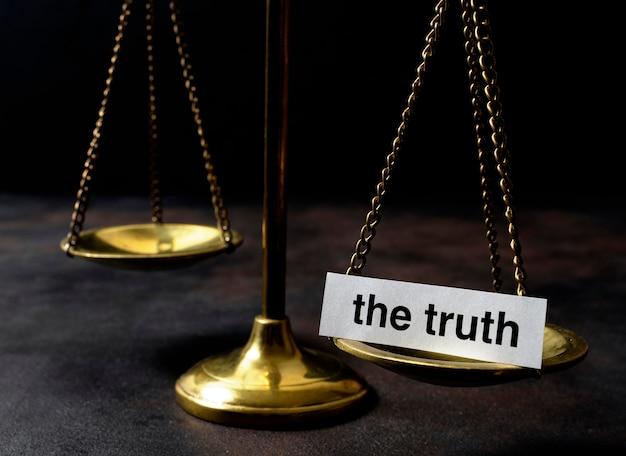 Wahrheitskonzept anordnung mit balance