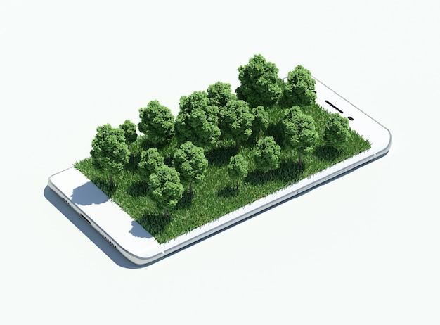 Wald, der von einem smartphone-bildschirm auftaucht.