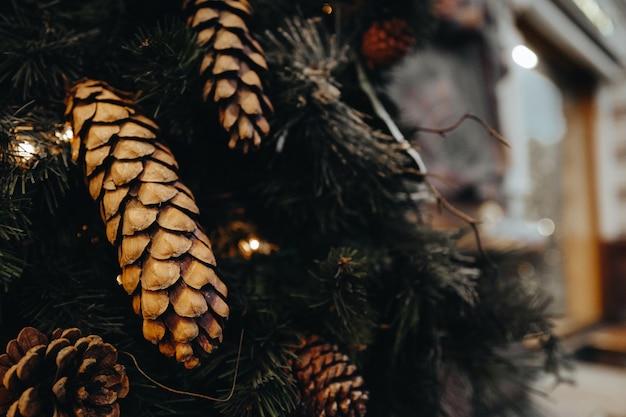 Waldkegel am weihnachtsbaum. zusammensetzung des neuen jahres. festliche stimmung. winterurlaubskonzept