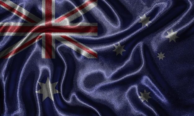 Wallpaper durch australien-flagge und wehende flagge durch gewebe.
