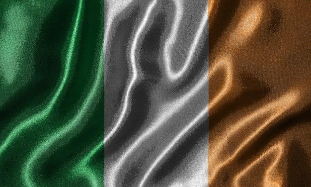 Wallpaper durch irland-flagge und wehende flagge durch gewebe.