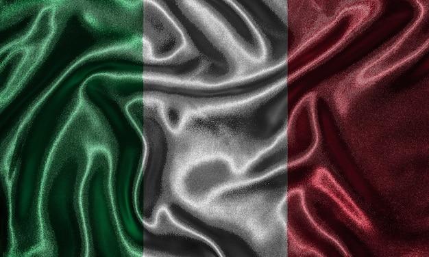 Wallpaper durch italien-flagge und wehende flagge durch gewebe.