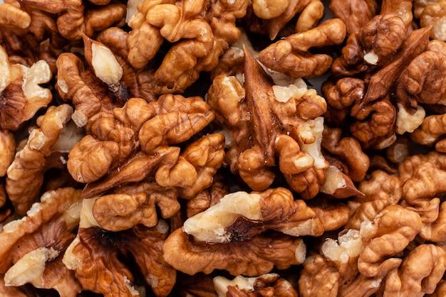 Walnuss hautnah. frühstück, gesundes essen. es kann als hintergrund verwendet werden