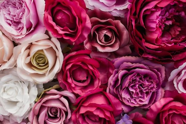 Wand aus hübschen rosen
