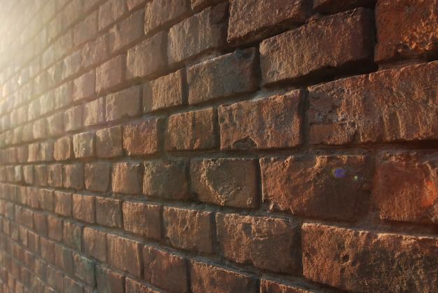 Wand des roten backsteins in der perspektive, hintergrund, beschaffenheit