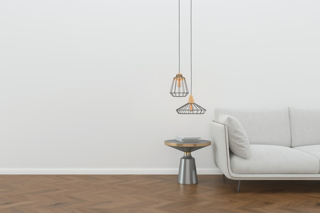 Wand holzboden innen sofa stuhl lampe interieur 3d wohnzimmer