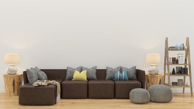 Wand holzfußboden interieur sofa stuhl lampe interieur 3d wohnzimmer