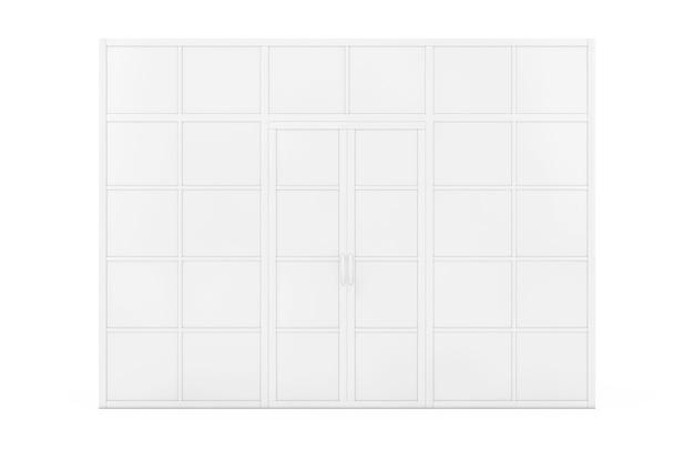 Wand, raumteiler mit türen im clay-stil auf weißem hintergrund. 3d-rendering