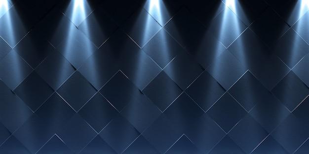 Wand und boden aus alten fliesen mit fünf laternen. abstrakter dunkler hintergrund. 3d-rendering