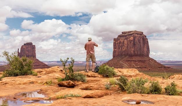 Wandererfotograf, der foto macht