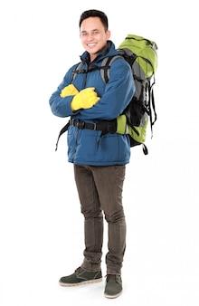 Wandermann tourist mit fernglas