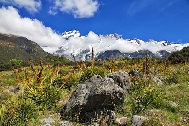 Wandern in hooker valley, neuseeland