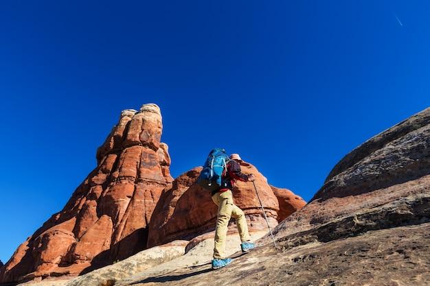 Wandern sie in den bergen von utah