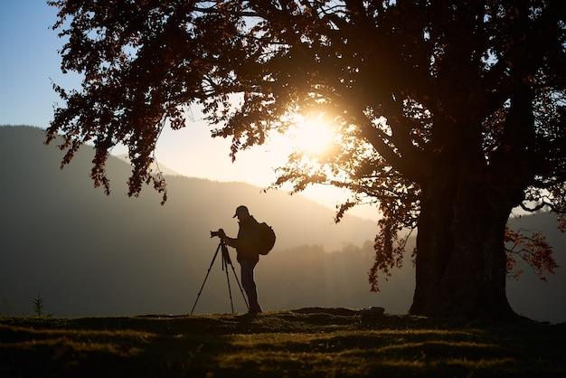 Wandertouristenmann mit kamera auf grasigem tal auf der berglandschaft unter großem baum.