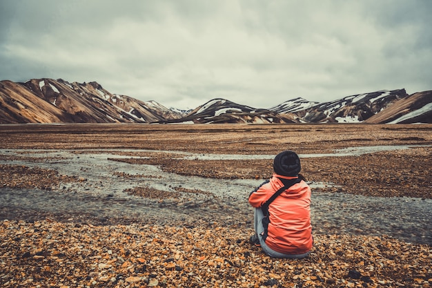 Wanderwanderung im landmannalaugar island highland