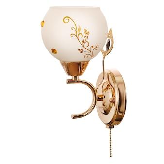 Wandleuchte mit weißem glasschirm mit floralen ornamenten aus goldenem metall
