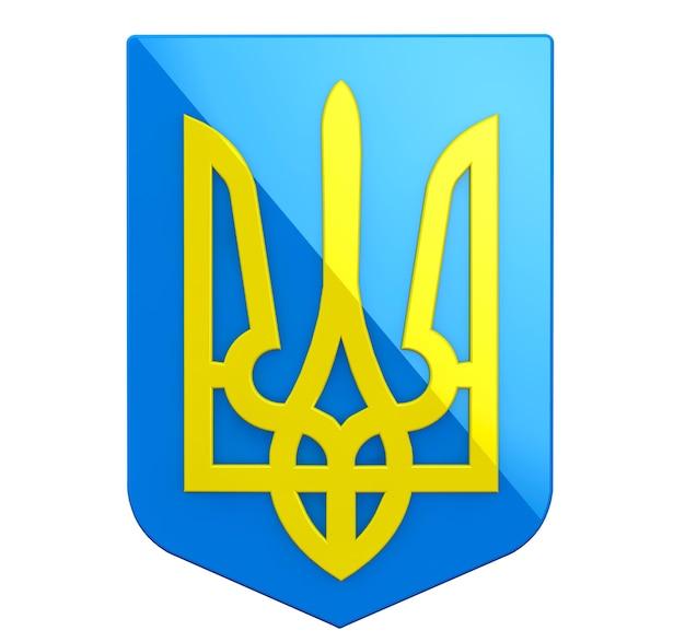 Wappen der ukraine auf weißem hintergrund
