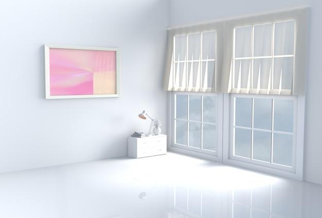 Warmer weißer raumdekor mit weißer zementwand, fliesenboden, fenster, bilderrahmen. 3d übertragen.