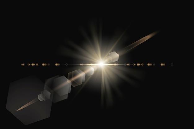Warmes lens flare mit hexagon ghost design element