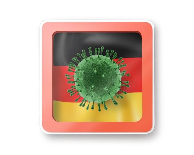 Warnschild mit modell des coronavirus-moleküls auf der deutschen flagge auf einem weißen, kopienraum. schnelle verbreitung von coronavirus, covid 19 in der welt. 3d-illustration